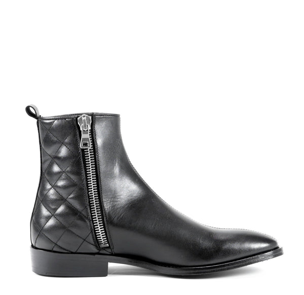 6184517b938 QUILTED BIKER BOOT IN BLACK LEATHER