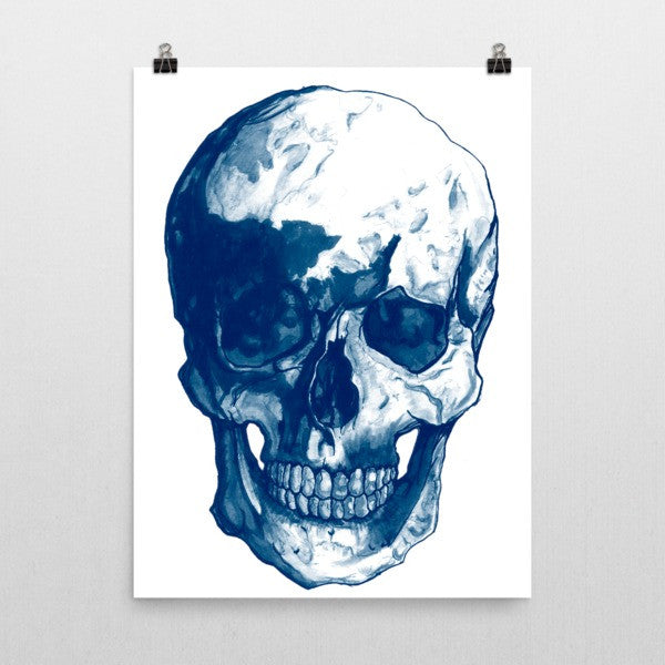 Skull Blue Ink Poster - Robert Bowen Tees