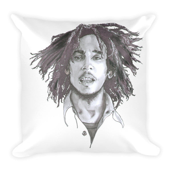Bob Marley The Legend Black Ink Cushion - Robert Bowen Tees
