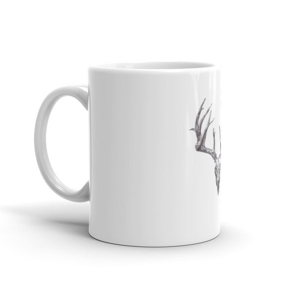 Stag Skull Black Ink Mug by Robert Bowen - Robert Bowen Tees