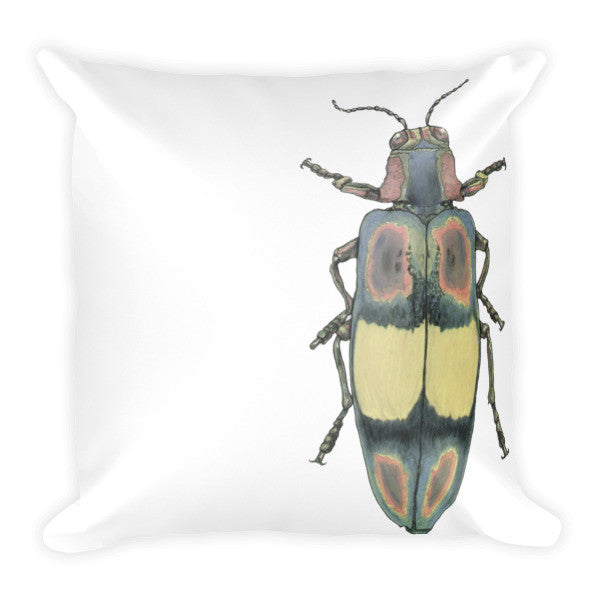 Coloured Beetle by Robert Bowen Cushion - Robert Bowen Tees
