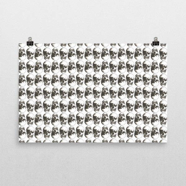 Polka Skulls White & Black 24 x 36 inches Poster by Robert Bowen - Robert Bowen Tees