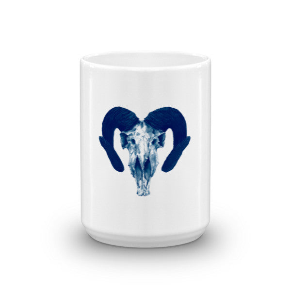 Ram Skull Concave Turned Horns Blue Ink by Robert Bowen Mug - Robert Bowen Tees