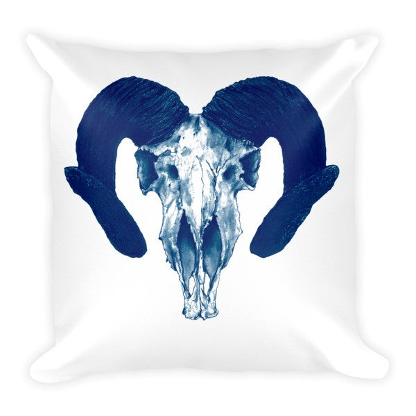 Ram Skull Concave Turned Horns  Blue Ink Cushion by Robert Bowen - Robert Bowen Tees