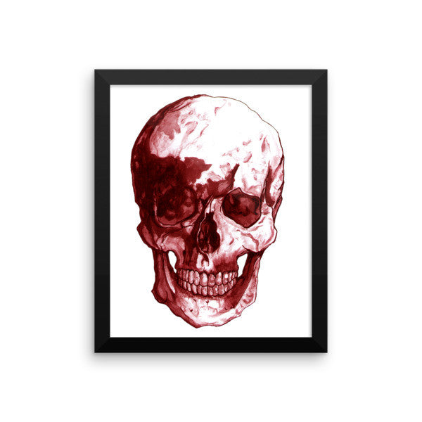 Skull Red Ink Framed Poster by Robert Bowen - Robert Bowen Tees