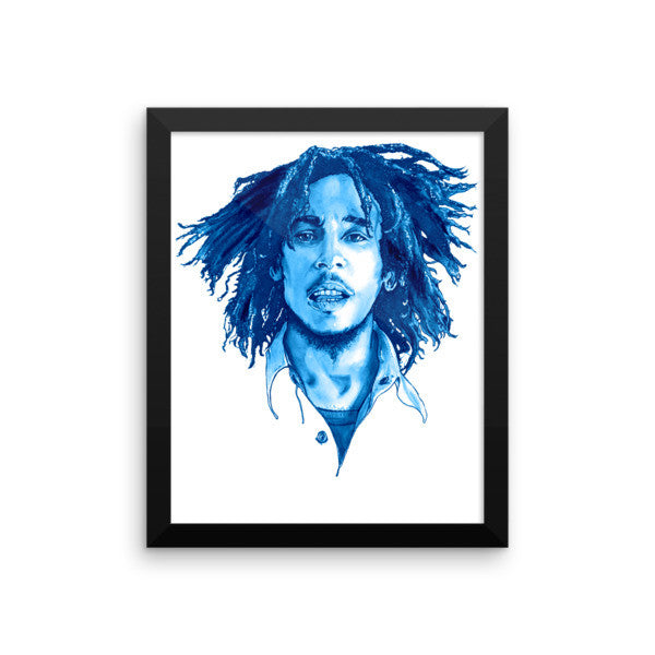 Bob Marley Blue Ink Framed Poster - Robert Bowen Tees