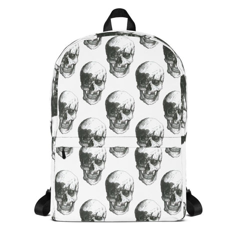 Skull Polka Black & White Backpack by Robert Bowen - Robert Bowen Tees