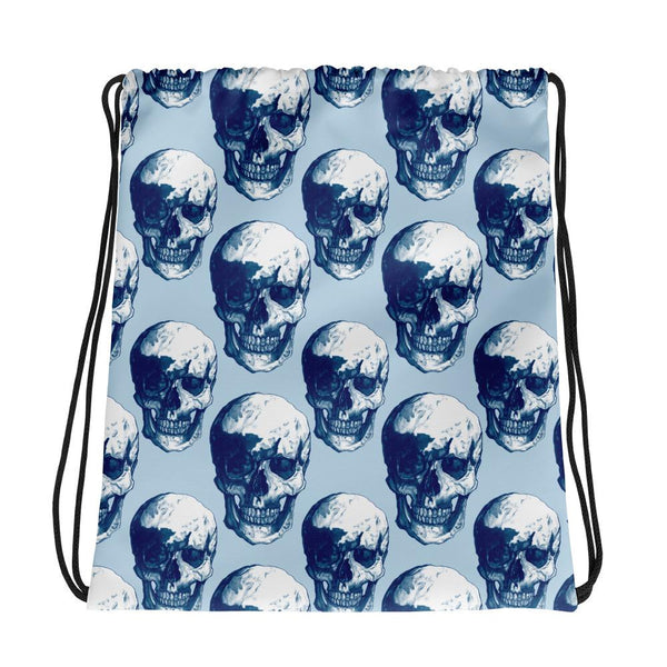 Blue Skulls Drawstring Bag by Robert Bowen - Robert Bowen Tees
