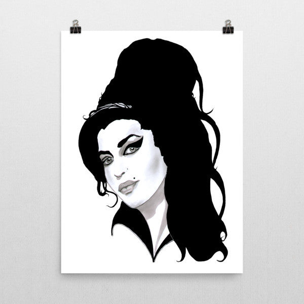 Amy Winehouse Black Ink Poster - Robert Bowen Tees