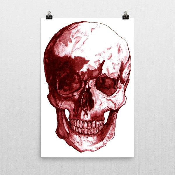 Skull Red Ink Poster by Robert Bowen - Robert Bowen Tees