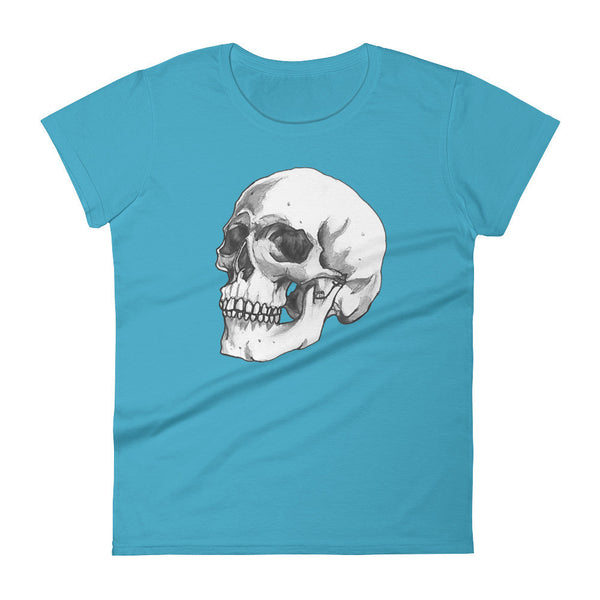 Skull 3/4 Women's Short Sleeve T-Shirt Illustrated by Robert Bowen - Robert Bowen Tees