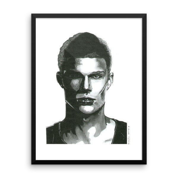 Comic Model Man Black Ink Framed Poster - Robert Bowen Tees