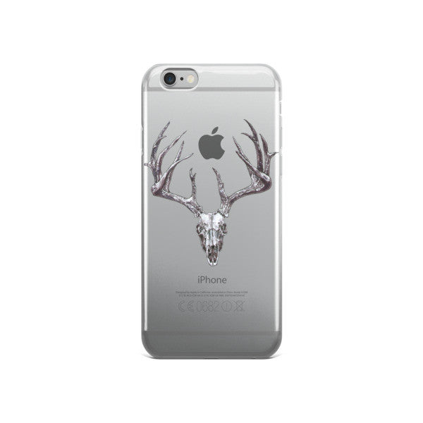 Stag Skull Black Ink iPhone Case by Robert Bowen - Robert Bowen Tees