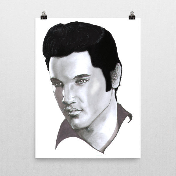 Elvis Presley Black Ink Poster - Robert Bowen Tees
