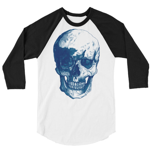 Skull Blue 3/4 Sleeve Raglan Shirt Illustrated by Robert Bowen - Robert Bowen Tees