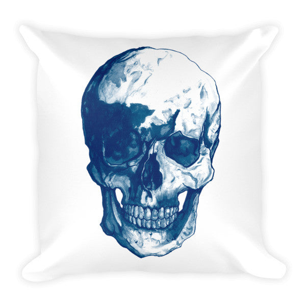 Skull Blue Ink Cushion - Robert Bowen Tees