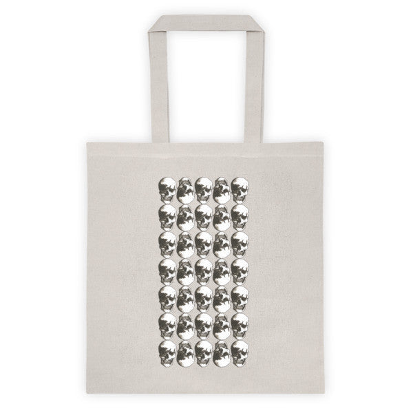 Polka Skulls Black & White Ink Tote Bag by Robert Bowen - Robert Bowen Tees