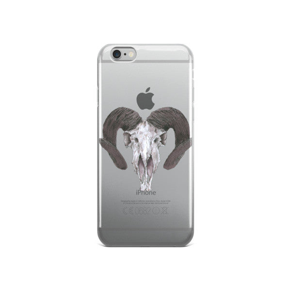 Skull Ram Concave Turned Horns Black Ink iPhone case by Robert Bowen - Robert Bowen Tees