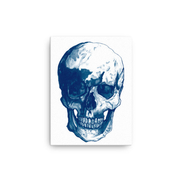 Skull Blue Ink Canvas by Robert Bowen - Robert Bowen Tees