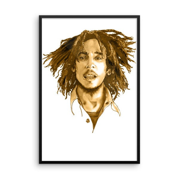 Bob Marley Brown Ink Framed Poster - Robert Bowen Tees