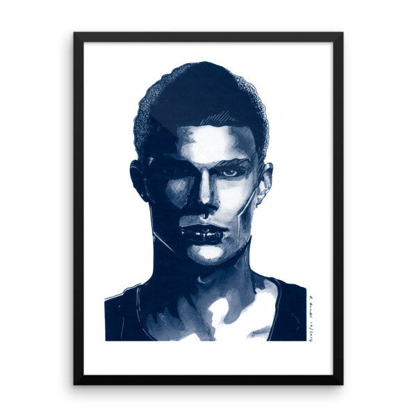 Comic Model Man Blue Ink Framed Poster - Robert Bowen Tees