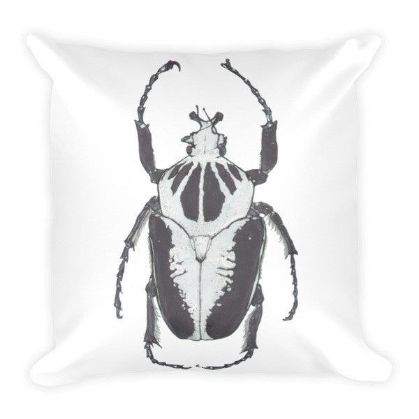 Black & White Beetle by Robert Bowen Cushion - Robert Bowen Tees