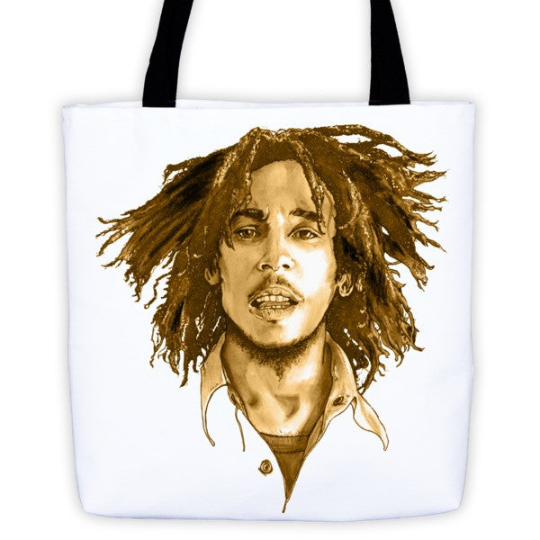 Bob Marley The Legend Brown Ink Tote Bag - Robert Bowen Tees