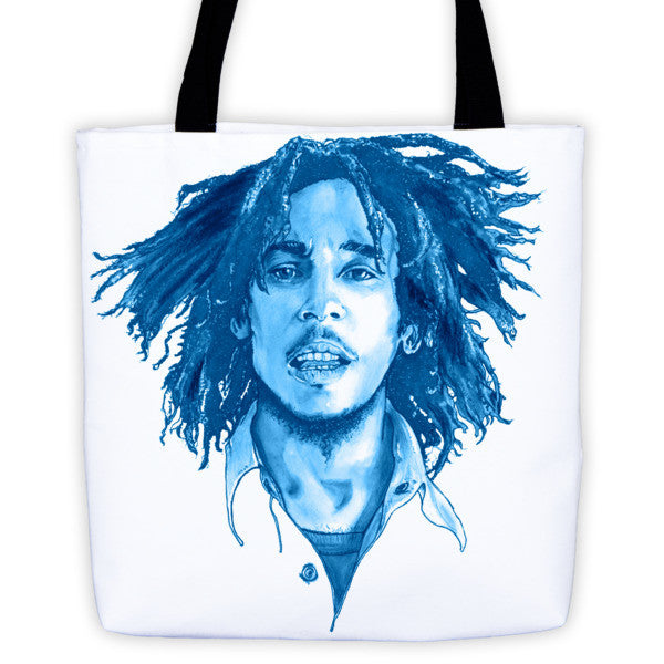 Bob Marley The Legend Blue Ink Tote Bag - Robert Bowen Tees