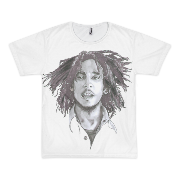 Legend/Vintage Treatment Bob Marley Black Ink Short Sleeve Men's T-Shirt (unisex) - Robert Bowen Tees