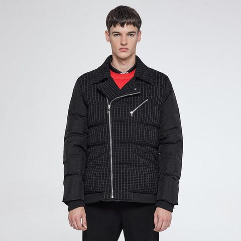 Men Designer's Pinstripes Biker's Jacket
