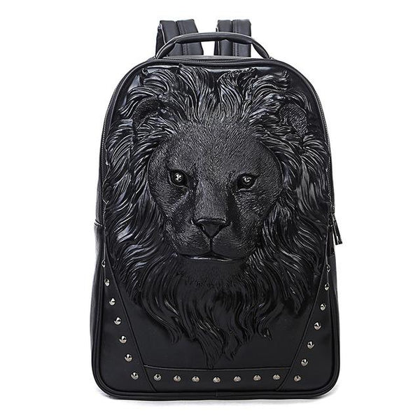 Unisex 3D Lion Design PU Leather Backpacks - Robert Bowen Tees