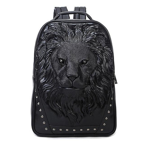 Unisex 3D Lion Design PU Leather Backpack - Robert Bowen Tees