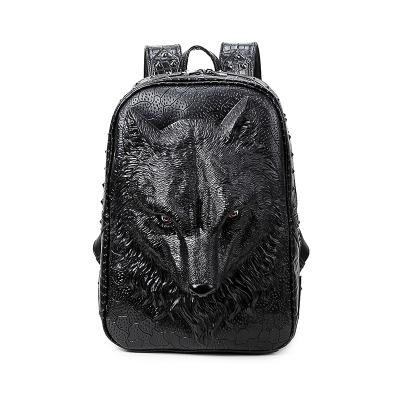 3D Wolf's Head PU Leather Back Pack - Robert Bowen Tees