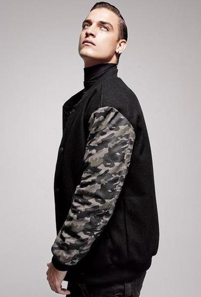 Men Designer's Bomber Jacket with Contrast Camouflage Sleeves - Robert Bowen Tees