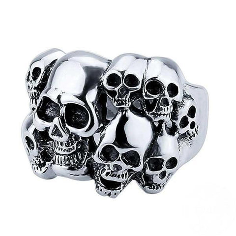 Unisex Multi-Skulls Solid Sterling Silver Ring - Robert Bowen Tees