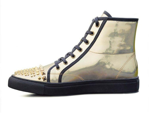 Gold Silver Holographic Leather Boots/Sold Out - Robert Bowen Tees