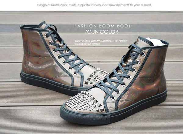 Gold Silver Holographic Leather Boots - Robert Bowen Tees