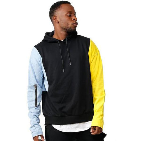 Men Designer's Sports Hoodie with Contrast Block Colours Sleeves