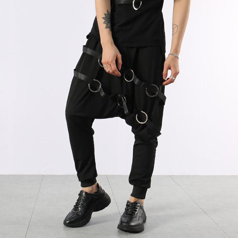 Men Designer's D Ring Styling Low Crotch Pants
