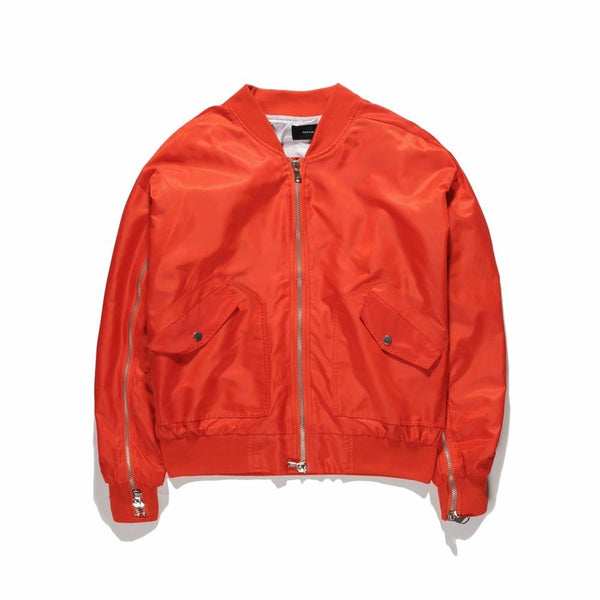 Men Designer's Zip Details Bomber Jacket