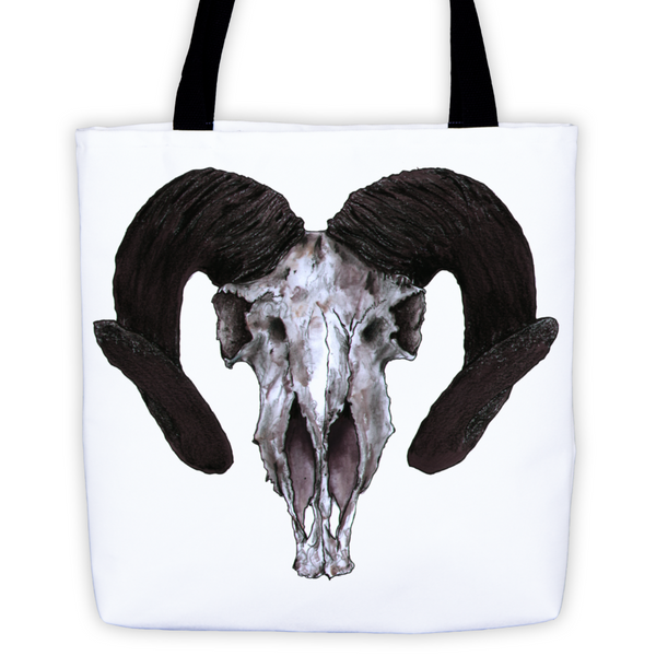Ram Skull Concave Turned Horns Black Ink Tote Bag by Robert Bowen - Robert Bowen Tees