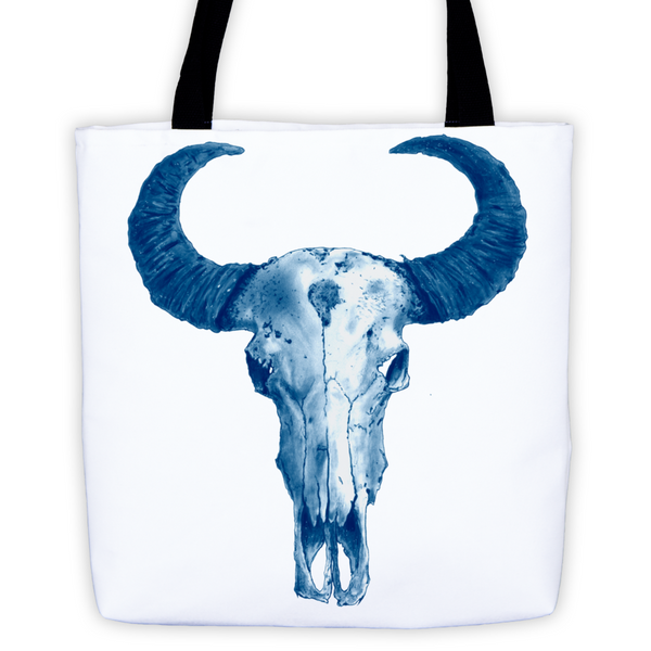Ram Skull Blue Ink Tote Bag by Robert Bowen - Robert Bowen Tees