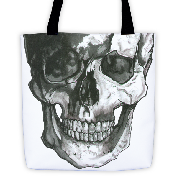 Skull Scalpel Black Ink Tote Bag by Robert Bowen - Robert Bowen Tees