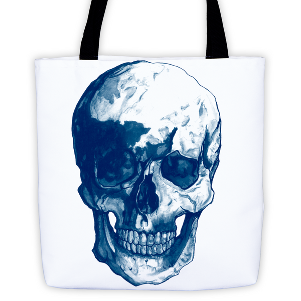 Skull Blue Ink Tote Bag by Robert Bowen - Robert Bowen Tees
