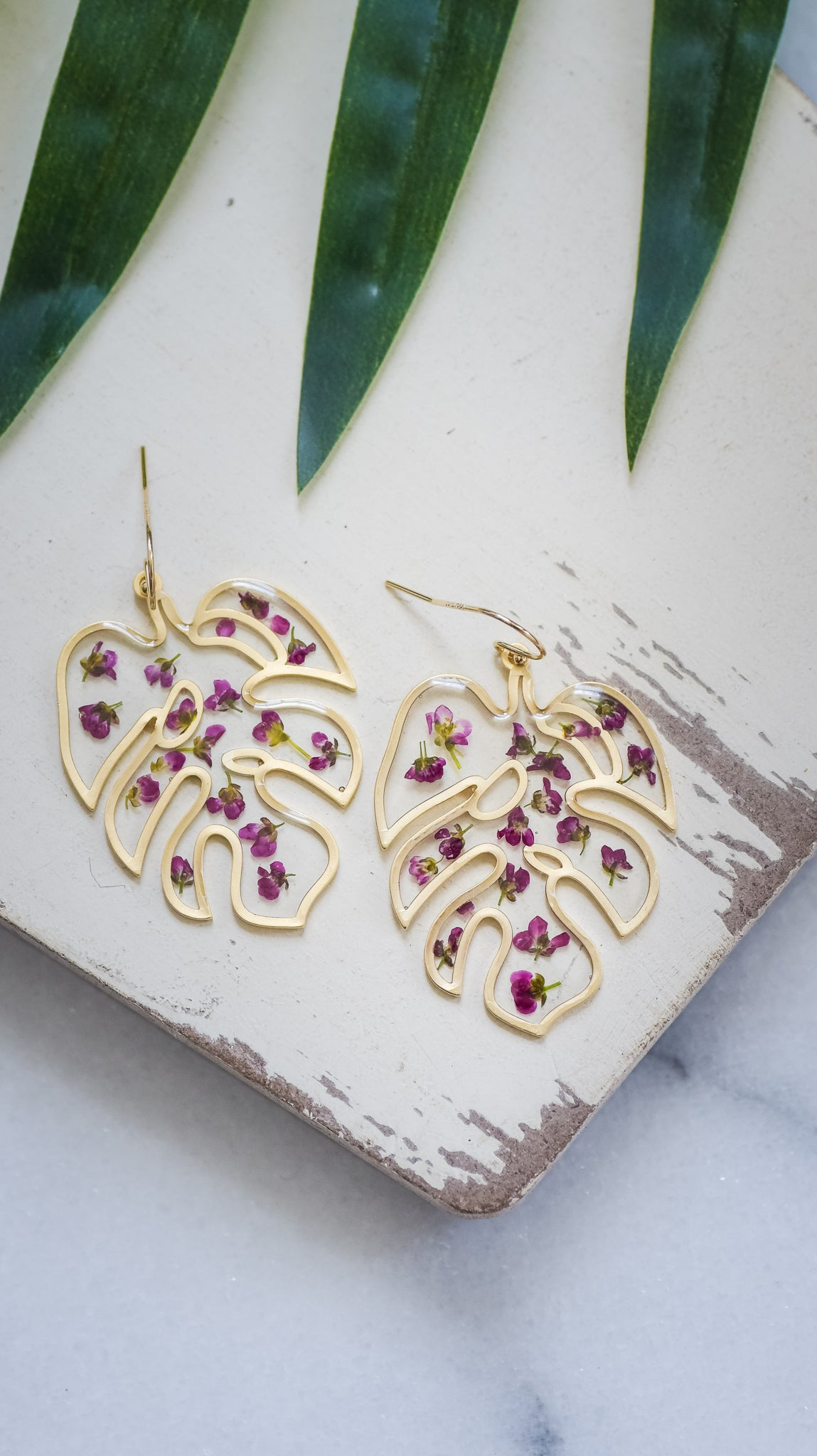 Tropical Palm Leaf Earrings