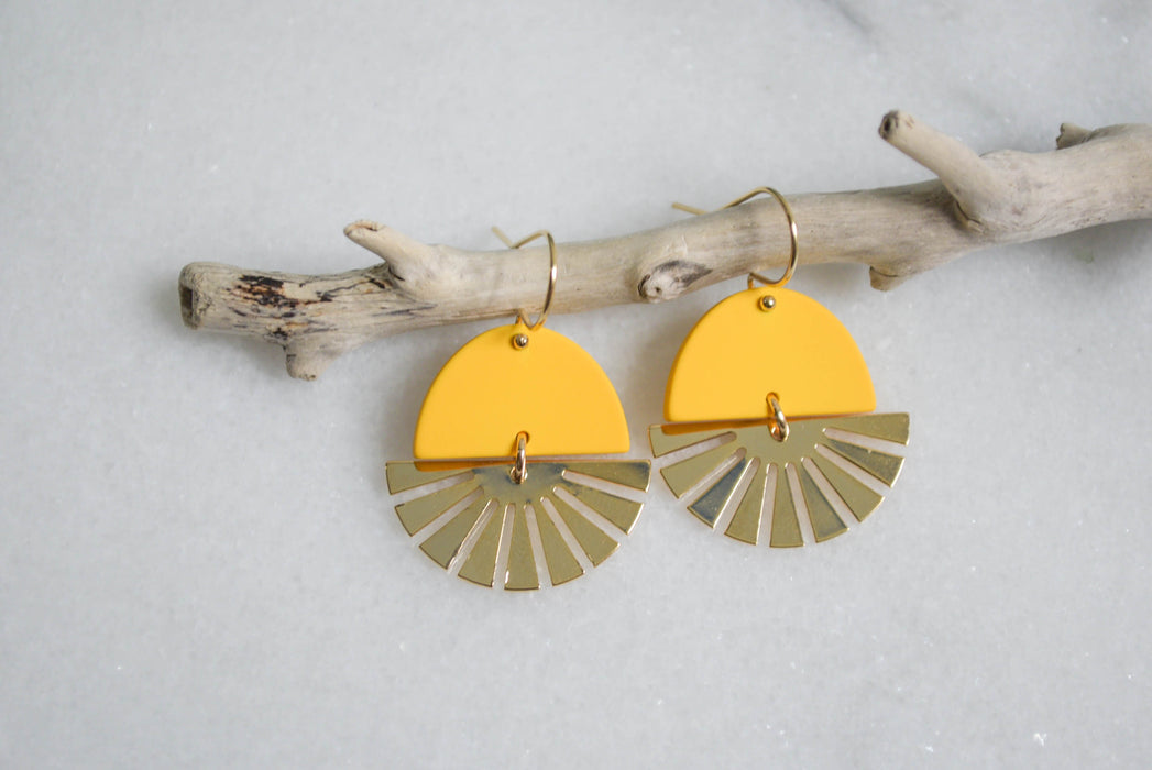 Sun Earrings Yellow