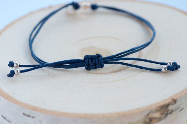 Ribbon Bracelet in Denim Blue