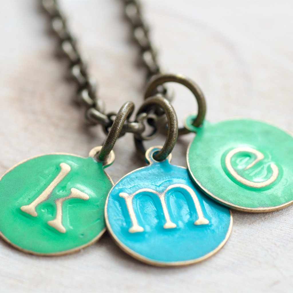 3 Small Letter Charm Necklace