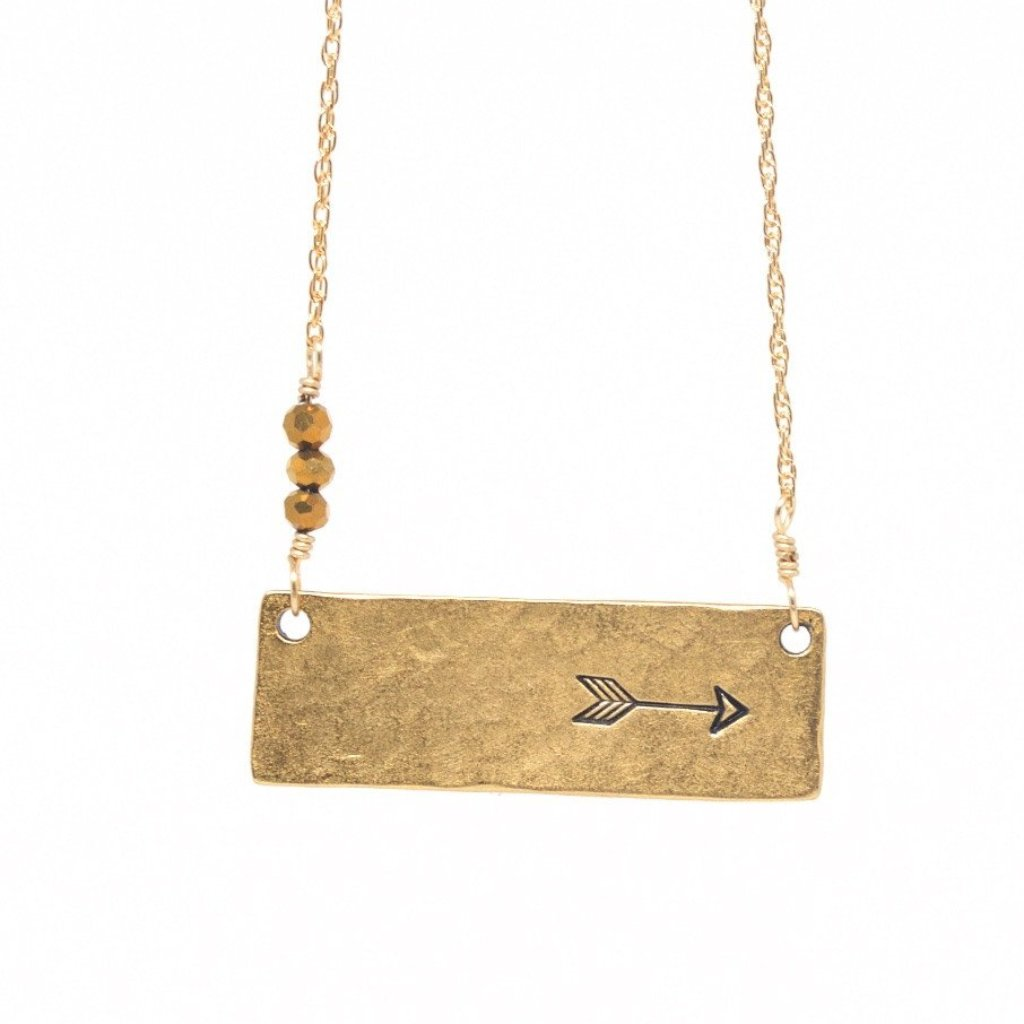 Arrow bar necklace by Olive Bella.  Shop now: https://olivebella.com