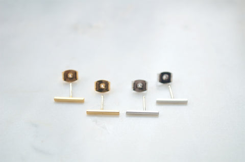 Minimal Gold and Silver Bar Earrings